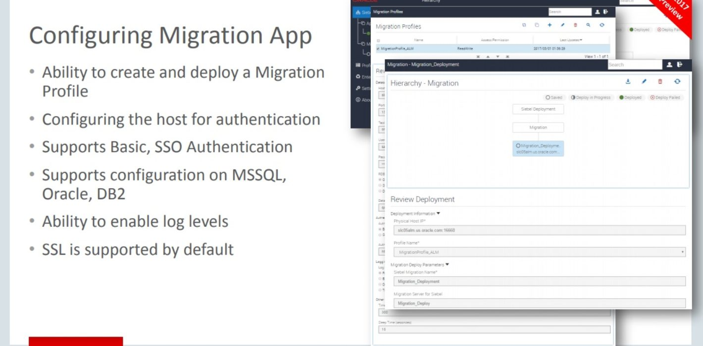 Interface for Siebel Migration